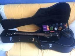 Violão Fender CD-60 SCE Black Dreadnought Tampo sólido Cutaway Eletroacústico