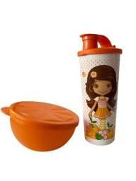 Título do anúncio: Kit Tupperware Laranjinha - tupper laranja + copo bico 470 ml
