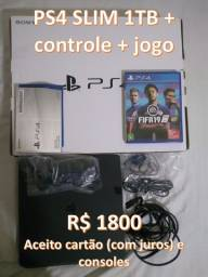 PS4 Slim 1TB + Controle + Jogo