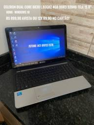Notebook Dual Core 4GB RAM 320GB HD Tela 15.6