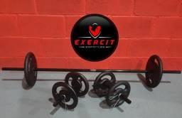 Kit completo para treinar em casa / Anilhas e barras em 10 X sem juros