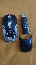 Mouse óptico sem fio com pilha recarregável