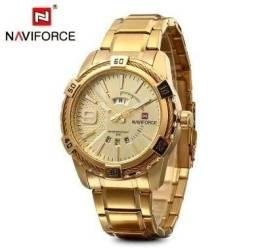 f03ceccacb7 Relógio Masculino Naviforce 9117 Quartz Original Dourado. pulseira e caixa  em aço