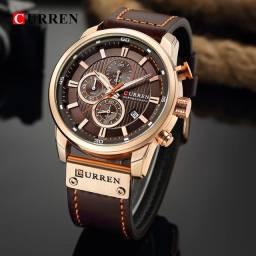 Relógio de couro da marca curren