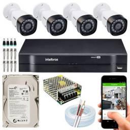Kit completo Intelbras 4 câmeras HD (10x sem juros no cartão - Superseg Itu)