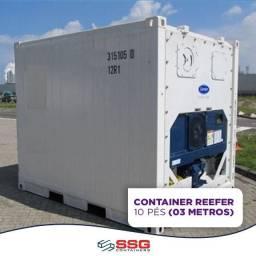 Locação mensal conteiner refrigerado congelado 3 metros 10 pés aço inox