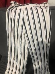 Calça Pantalona Listrada nova