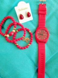 Kit - Relógio + Pulseiras + Brincos + Caixa Presente