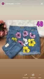 Saia jeans tamanho 36 forma normal