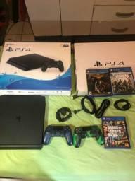 Playstation 4 1tb 2 controles 18 jogos