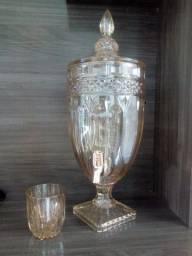 Dispenser de cristal de chumbo ( filtro para bebidas ) + 5 copos de cristal dourado