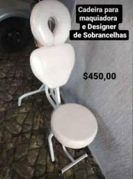 Cadeira de   maquiadora e  design de sobrancelha