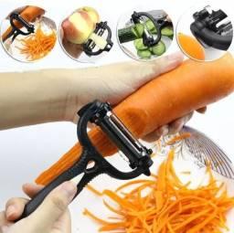 Descascador/cortador/fatiador manual,  rotativo. Multiuso 3 em 1 para frutas e legumes!