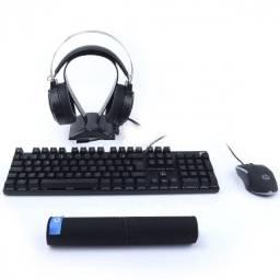 Título do anúncio: kit gamer pro 4 em 1 teclado mecanico + mouse + headset + mouse pad gm3000 preto
