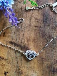 Linda pulseira em prata italiana coração árvore da vida