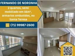 Fernando de Noronha, com 2 quartos sendo 1 suite em 56m², 1 vaga na garagem.