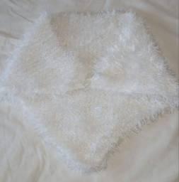 Estola Lã Branco Brilhoso Feminino Tam M