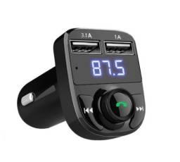 (Aceito cartão) Transmissor FM para carro Bluetooth e carregador USB (Novo)