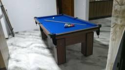 Mesa Charme de Sinuca e Jantar | Mesa Imbuia | Tecido Azul | Modelo: YZLZ0169