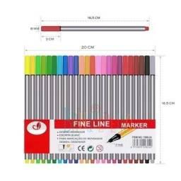 Kit de Canetas 24 cores estilo Stabilo Ponta Fina 0.4mm Estojo Completo Promoção