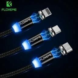 Cabo Magnético USB Andoid e IOS Original Floveme Ultra Rápido