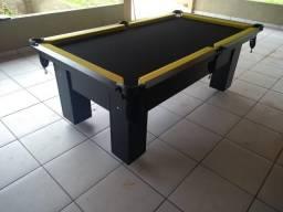 Mesa de Bilhar Tecido Preto com Amarelo Cor Preta TX Modelo THC4698