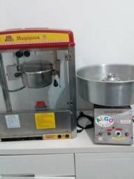 Máquina de pipoca, máquina de algodão doce