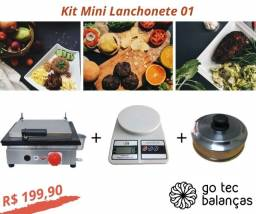 Kit Mini Lanchonete 01 - Chapa Lanche + Balança Digital + Abafador de Hamburguer