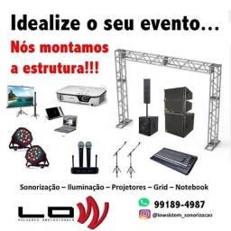 Aluguel de projetores, telão para projeção, microfones sem fio e sonorização