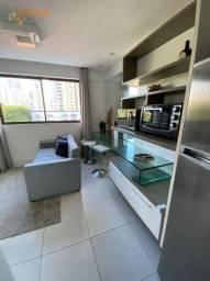 Flat mobiliado, com 1 dormitório para alugar, 29 m² por R$ 1.900/mês - Boa Viagem - Recife