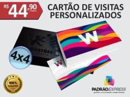 Cartões de visita personalizados em couchê ou verniz localizado.