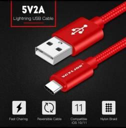 Cabo carregador e Transferência de dados Resistente USB micro, Tipo C e modelos de iPhone