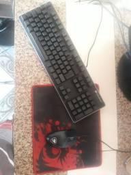 Kit Gamer Cougar - Teclado Semi Mecânico RGB, ABNT2 + Mouse LED - Deathfire EX<br><br>