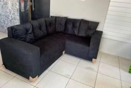Lindo sofá de canto de tecido Aveludado