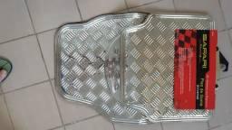 Tapete Automotivo Alumínio Prata Carro Universal 4 Peças