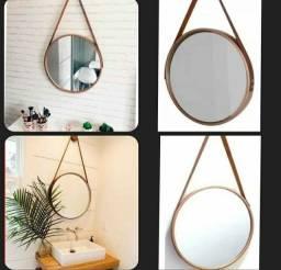 Espelho Adnet redondo decorativo com alça couro ideal para qualquer ambiente