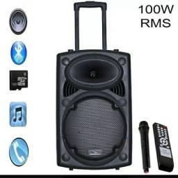 Caixa De Som Amplificada 300w Bluetooth Microfone Usb Sd Fm<br>