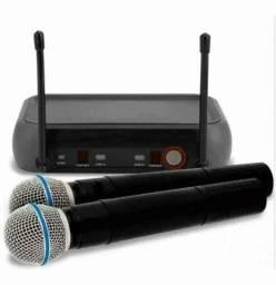 Kit Microfone Sem Fio Duplo Weisre no