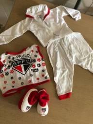 Roupinha recém nascido do time futebol São Paulo