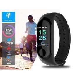 Pulseira Inteligente Relogio De Corrida Monitor Cardiaco M3 Preto Smartband M3