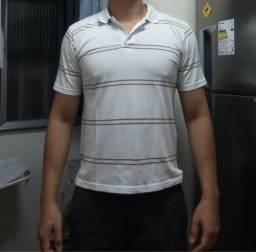 0e2f18502f Camiseta polo branca com listras marrom tam  M