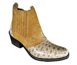 Bota country couro legitimo estilo cowboy marca campolina
