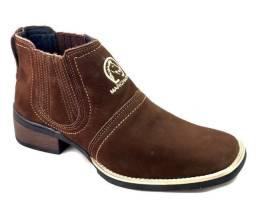Bota country em couro botina bico quadrado estilo texana marca campolina