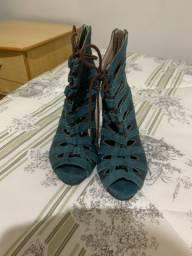 Sandalia azul 37 couro legítimo impecável novinha