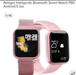 R$ 259,00 Relógio Smartwatch P80 Pulseira Aço Inclusa Tela 100% Touch