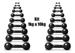 Halter Bola Emborrachado Par de 1 kg a 10 kg Com Suporte