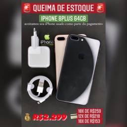 iPhone 8 Plus 64gb seminovo de vitrine, aceitamos seu iPhone usado na negociação.