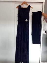 Vestido de festa, azul marinho.