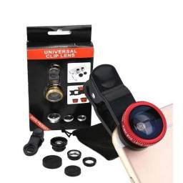 Kit Lente Olho De Peixe 3x1 Para Celulares Universal Selfie!