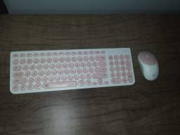 Teclado e Mouse Rosa Wireless